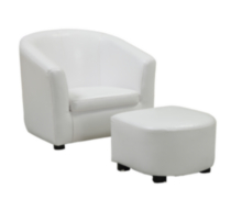 Monarch Specialities Leather-Look Juvenile Chair/Ottoman White