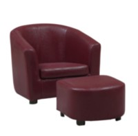 Monarch Specialities Leather-Look Juvenile Chair/Ottoman Red