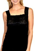 Patricia Lingerie Women's 5197 Square Neck Camisole with Wide Stretch Lace Black M