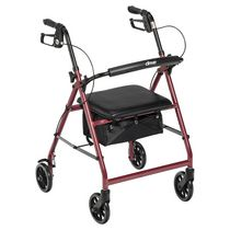 Drive Medical Rollator with 6-inch Wheels Fold Up Removable Back Support and Padded Seat Red