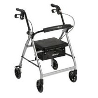 Drive Medical Rollator with 6-inch Wheels Fold Up Removable Back Support and Padded Seat Silver
