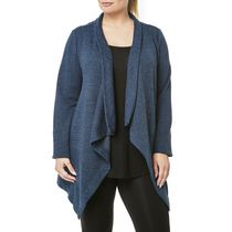 Danskin Plus Women's French Terry Cardigan Teal 1x