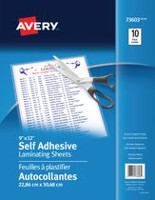 "Avery® Self-Adhesive Laminating Sheets, 73603 - 9 x 12"" - 10 Pack"