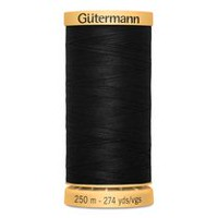 Gutermann 100% Cotton Thread 250 m - Black