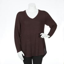 George Plus Women's Long Sleeved Hacci Knit Top Burgundy 4x