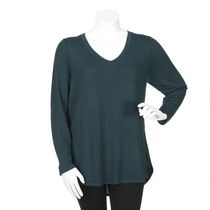 George Plus Women's Long Sleeved Hacci Knit Top Green 2X