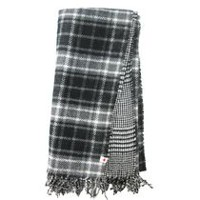 Canadiana Women's Reversible Plaid/Hounds tooth Scarf Black
