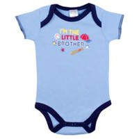 Kushies Baby Creeper Bodysuit - I'm The Little Brother Short Sleeve 0-3 months