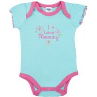 "Kushies Baby Creeper - ""I Love Mommy"" Short Sleeve Bodysuit 0-3 months"