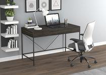 """Safdie & Co. Computer Desk-49"""" Grey Wood 2 Drawers/Black Metal"""