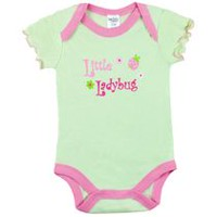 "Kushies Baby Creeper - ""Little Lady Bug"" Short Sleeve Bodysuit 0-3 months"