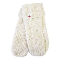 Canadiana Women's Icelandic Cable Knit Mitts Ivory