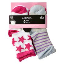 George Basic Infant Girls Non Skid Crew Socks, 6 Pairs 0-3 Shoe (0-12 months)