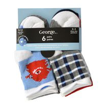 George Infant Boys Non Skid Crew Socks, 6 Pairs 2-5 Shoe (12-24 months)
