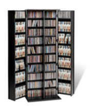 Prepac Grande Locking Media Storage Cabinet with Shaker Doors Black
