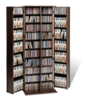 Prepac Grande Locking Media Storage Cabinet with Shaker Doors Dark Brown