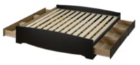 Prepac King Size Platform Storage Bed with 6 Drawers Black