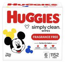 Lingettes pour bébés HUGGIES Simply Clean sans parfum, recharge