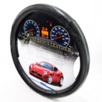 Alpena Black Leather Steering Wheel Cover