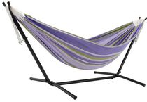 Vivere Double Cotton Hammock with Stand and Carry Bag