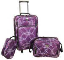 Travelway Group International JetStream 3 Piece Luggage Set Purple