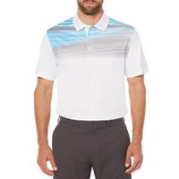 Ben Hogan Men's Golf Performance Linear Textured Stripe Short Sleeve Polo Shirt White M