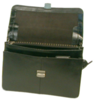 Bond Street, Flapover Key Lock Executive Leather Briefcase, 768182 Black