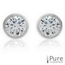 6mm CZ Hearts & Arrows Bezel Round Studs