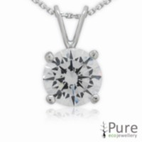 6mm CZ Hearts & Arrows Round Pendant with chain