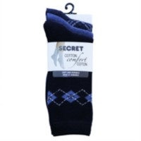 SECRET Ladies Patterned Crew Sock 3 Pack French Blue