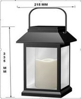 hometrends Solar Black Lantern with LED bulb