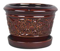 "hometrends 8"" Rustic Damask Ceramic Planter"