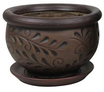 "hometrends 7"" Carved Floral Ceramic Planter"