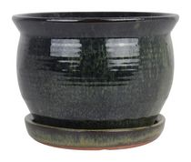 "hometrends 6"" Green Taos Ceramic Planter"