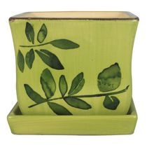 "hometrends 8"" Green Botanical Square Ceramic Planter"