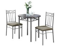Monarch Specialties Cappuccino/Silver Metal Dining Set