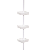 Mainstays Tub and Shower Tension Pole Caddy, 3 Shelf, White