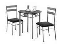 Monarch Specialties Black/Grey Metal Dining Set