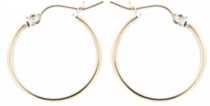 Round hoop earring in sterling silver over 14k yellow gold