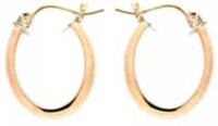 Over 14K Yellow Gold Oval Polished Hoop Earring In Sterling Silver