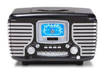 Crosley Corsair Retro AM/FM Radio with CD Player and Dual Alarm Clock - Black