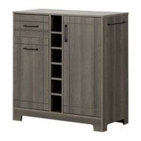 South Shore Vietti Bar Cabinet with Bottle and Glass Storage Gray Maple