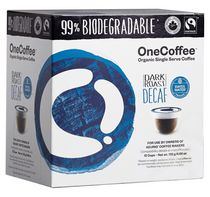 OneCoffee 99% Biodegradable, Organic & Fair Trade Single Serve Coffee - Dark Roast Decaf