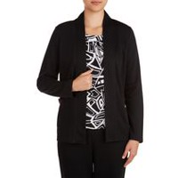 Alia Women's Ribbed Open Front Cardigan with Pockets Black XL