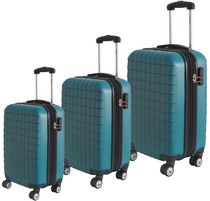 McBRINE 3 Piece Eco Friendly ABS Hard sided set on four , double swivel wheels with expandable feature Teal