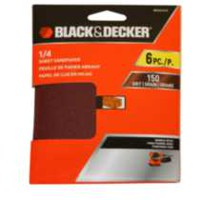 Papier abrasif BLACK+DECKER Clamp-on 1/4 feuille de 150 grains
