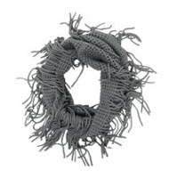 George Women's Square Knit Infinity Loop Fringes Scarf Grey