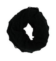 George Women's Cable Knit Infinity Loop Scarf Black