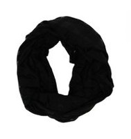 George Women's Jersey Lace Knit Infinity Loop Scarf Black
