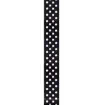 Offray 7/8 in. White Satin Dot Ribbon Black